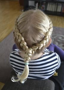 two dutch braids into one