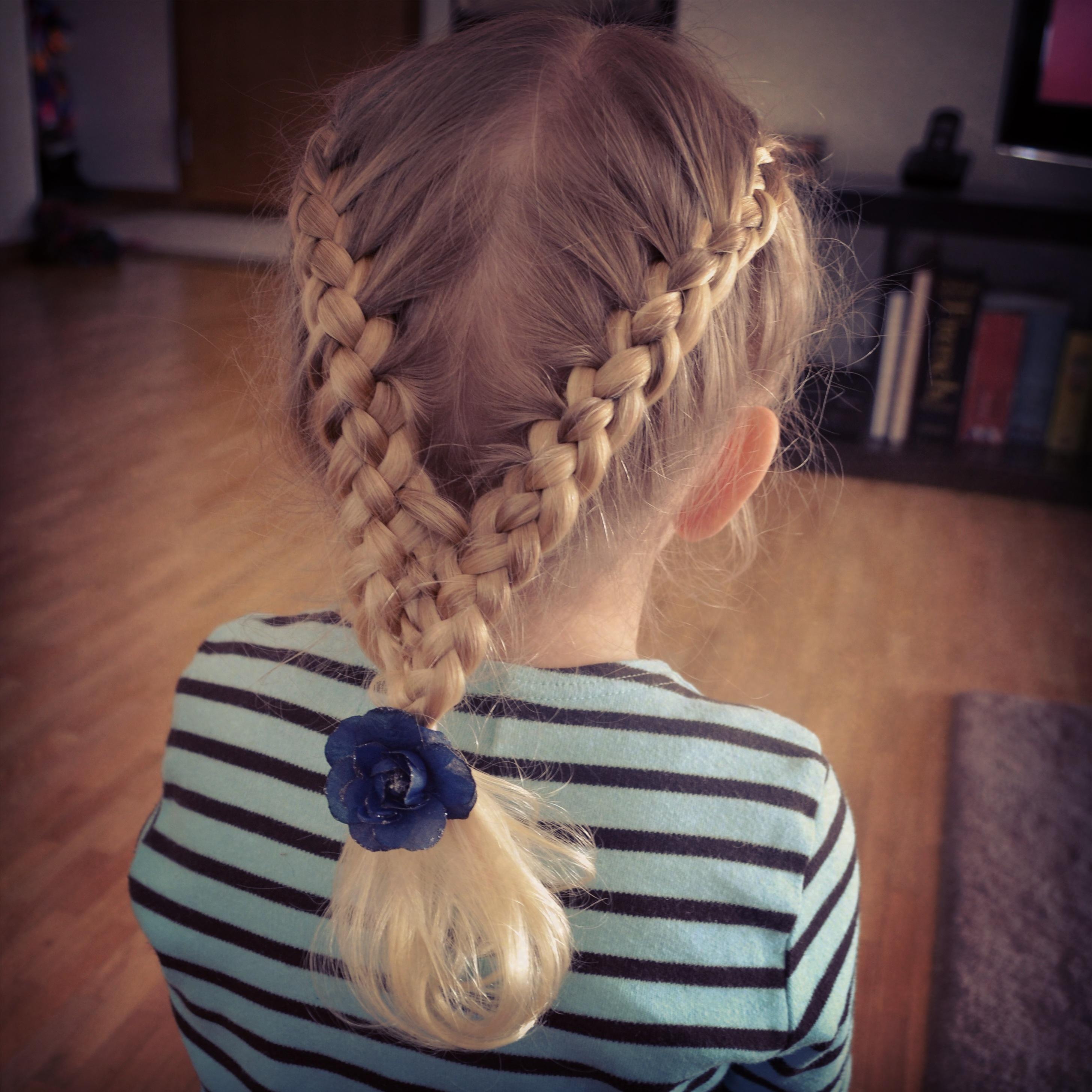 Two french braids into one braid two four strand french braids